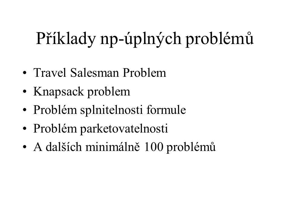 Příklady np-úplných problémů Travel Salesman Problem Knapsack problem Problém splnitelnosti formule Problém parketovatelnosti A dalších minimálně 100