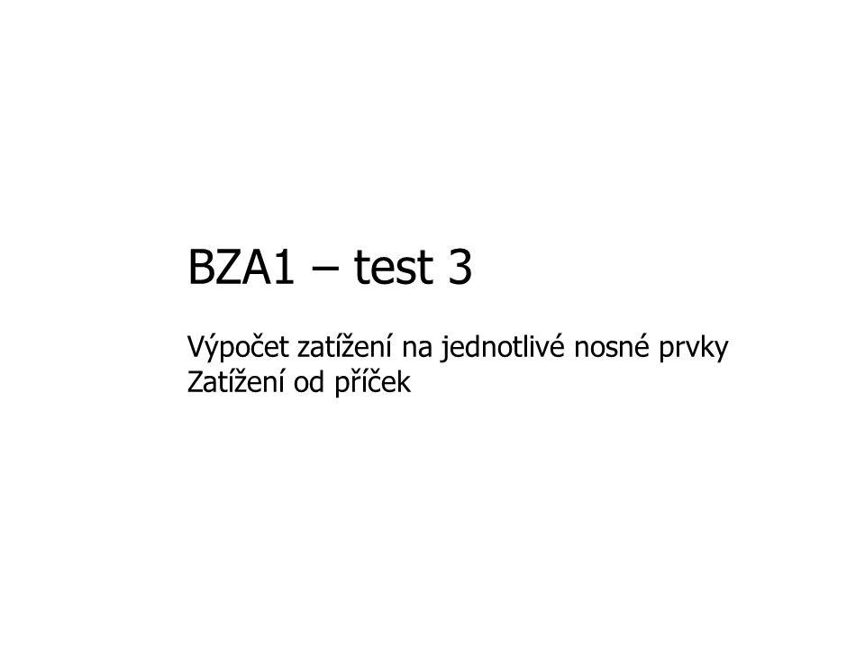 BZA1 – test 3 Výpočet zatížení na jednotlivé nosné prvky Zatížení od příček