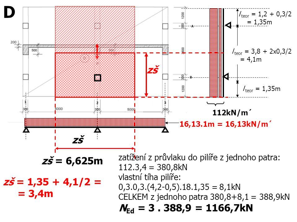 l teor = 1,35m 16,13.1m = 16,13kN/m´ l teor = 3,8 + 2x0,3/2 = 4,1m l teor = 1,2 + 0,3/2 = 1,35m zš = 6,625m 112kN/m´ zš zš = 1,35 + 4,1/2 = = 3,4m zat
