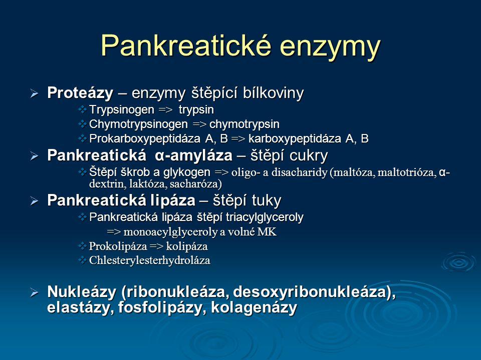 Pankreatické enzymy  Proteázy – enzymy štěpící bílkoviny  Trypsinogen => trypsin  Chymotrypsinogen => chymotrypsin  Prokarboxypeptidáza A, B => karboxypeptidáza A, B  Pankreatická α-amyláza – štěpí cukry  Štěpí škrob a glykogen => oligo- a disacharidy (maltóza, maltotrióza, α- dextrin, laktóza, sacharóza)  Pankreatická lipáza – štěpí tuky  Pankreatická lipáza štěpí triacylglyceroly => monoacylglyceroly a volné MK => monoacylglyceroly a volné MK  Prokolipáza => kolipáza  Chlesterylesterhydroláza  Nukleázy (ribonukleáza, desoxyribonukleáza), elastázy, fosfolipázy, kolagenázy