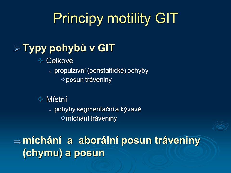 Principy motility GIT  Typy pohybů v GIT  Celkové  propulzivní (peristaltické) pohyby  posun tráveniny  Místní  pohyby segmentační a kývavé  míchání tráveniny  míchání a aborální posun tráveniny (chymu) a posun