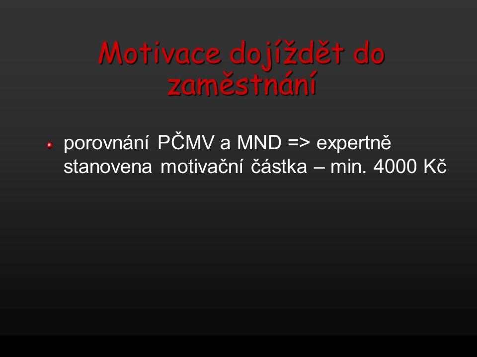 Motivace dojíždět do zaměstnání porovnání PČMV a MND => expertně stanovena motivační částka – min. 4000 Kč