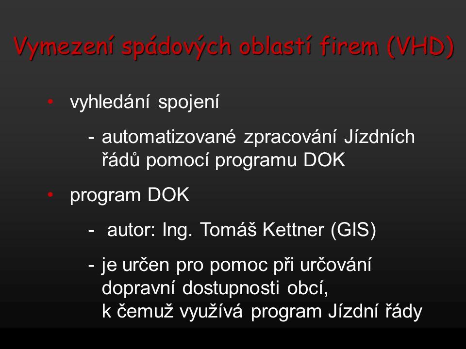 Vymezení spádových oblastí firem (VHD) vyhledání spojení -automatizované zpracování Jízdních řádů pomocí programu DOK program DOK - autor: Ing. Tomáš