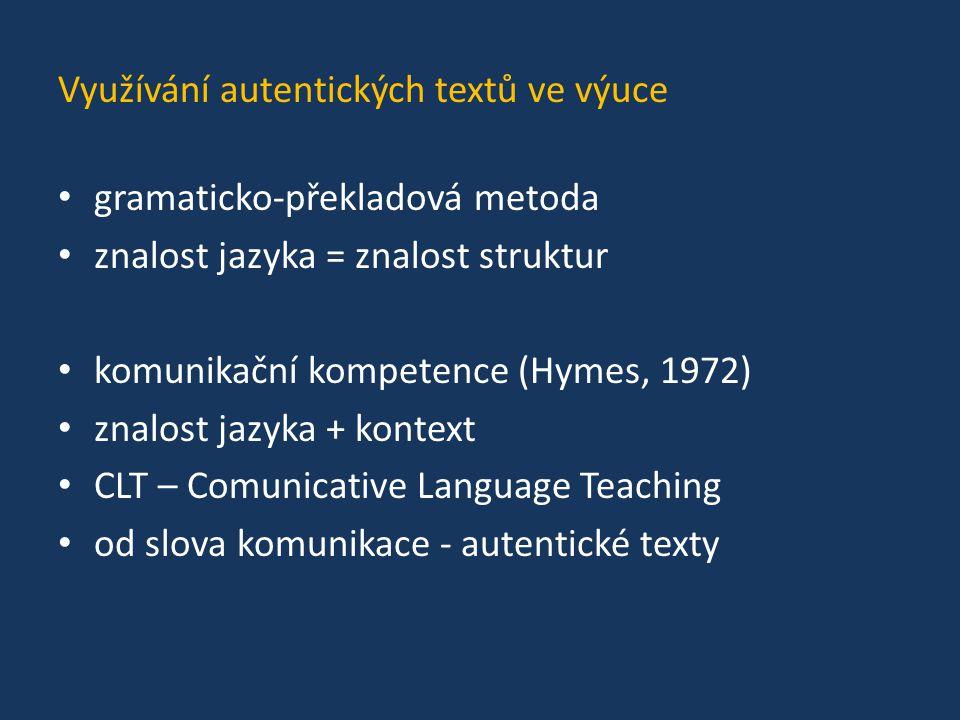 Využívání autentických textů ve výuce gramaticko-překladová metoda znalost jazyka = znalost struktur komunikační kompetence (Hymes, 1972) znalost jazy