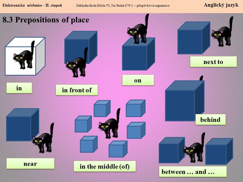 8.3 Prepositions of place Elektronická učebnice - II.