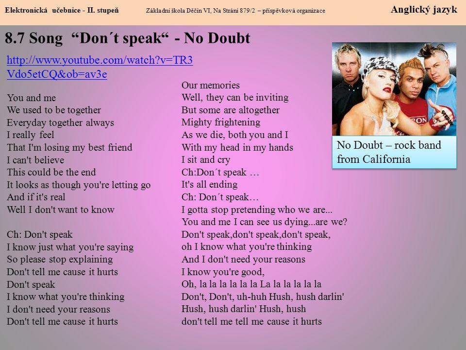 8.7 Song Don´t speak - No Doubt Elektronická učebnice - II.