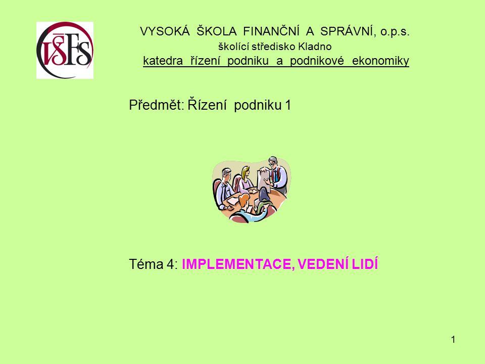 1 Předmět: Řízení podniku 1 Téma 4: IMPLEMENTACE, VEDENÍ LIDÍ VYSOKÁ ŠKOLA FINANČNÍ A SPRÁVNÍ, o.p.s.