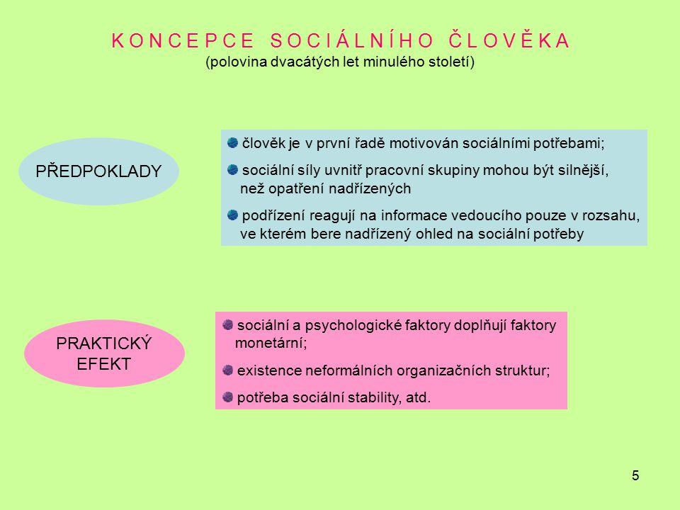 5 K O N C E P C E S O C I Á L N Í H O Č L O V Ě K A (polovina dvacátých let minulého století) PŘEDPOKLADY člověk je v první řadě motivován sociálními