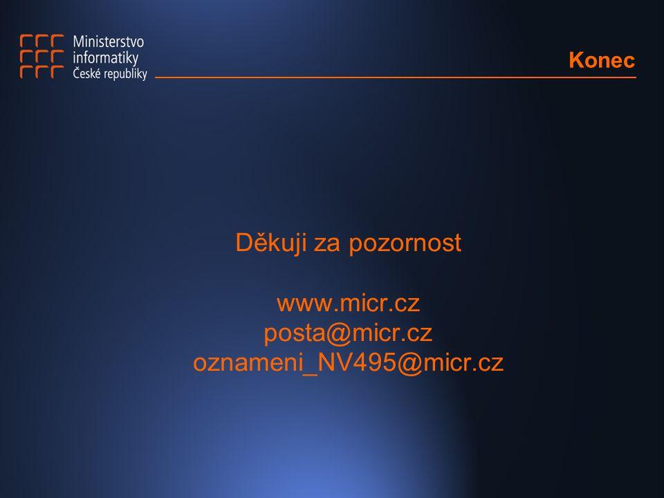 Děkuji za pozornost www.micr.cz posta@micr.cz oznameni_NV495@micr.cz Konec
