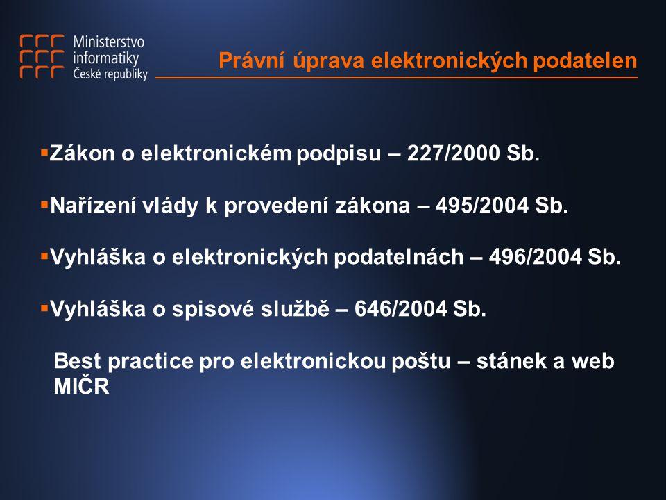 Právní úprava elektronických podatelen  Zákon o elektronickém podpisu – 227/2000 Sb.