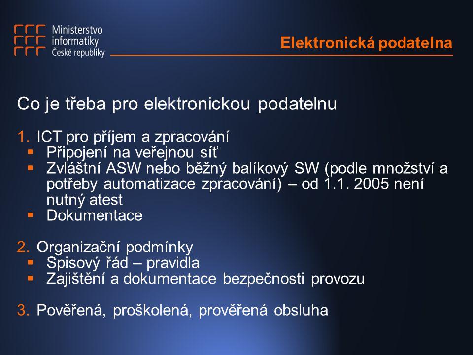 Elektronická podatelna Co je třeba pro elektronickou podatelnu 1.ICT pro příjem a zpracování  Připojení na veřejnou síť  Zvláštní ASW nebo běžný balíkový SW (podle množství a potřeby automatizace zpracování) – od 1.1.
