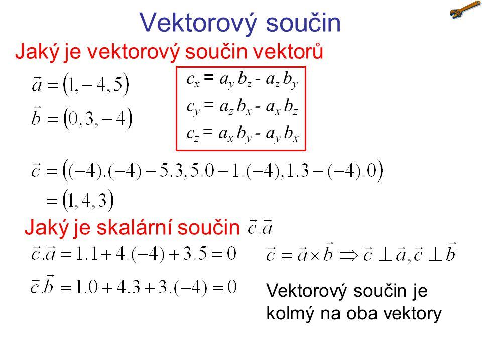 Vektorový součin Jaký je vektorový součin vektorů c x = a y b z - a z b y c y = a z b x - a x b z c z = a x b y - a y b x Jaký je skalární součin Vekt