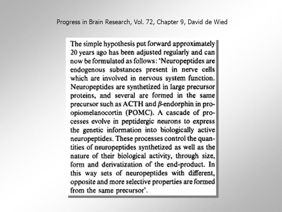 """Klasifikace neuropeptidů  tradičně se dělí do skupin podle oblastí, ve kterých byla jejich funkce poprvé popsaná, nebo podle svého účinku  nepřesné: ACTH a  -MSH se nachází nejen v neurohypofýze, ale i non- neuroendokrinních neuronech a mají i non-neuroendokrinní funkce  mohou koexistovat s """"klasickými neuropřenašeči"""