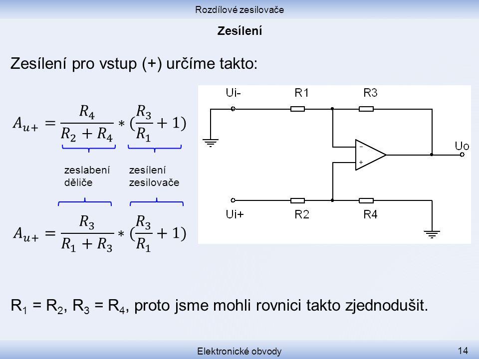Rozdílové zesilovače Elektronické obvody 14 Zesílení pro vstup (+) určíme takto: R 1 = R 2, R 3 = R 4, proto jsme mohli rovnici takto zjednodušit. zes
