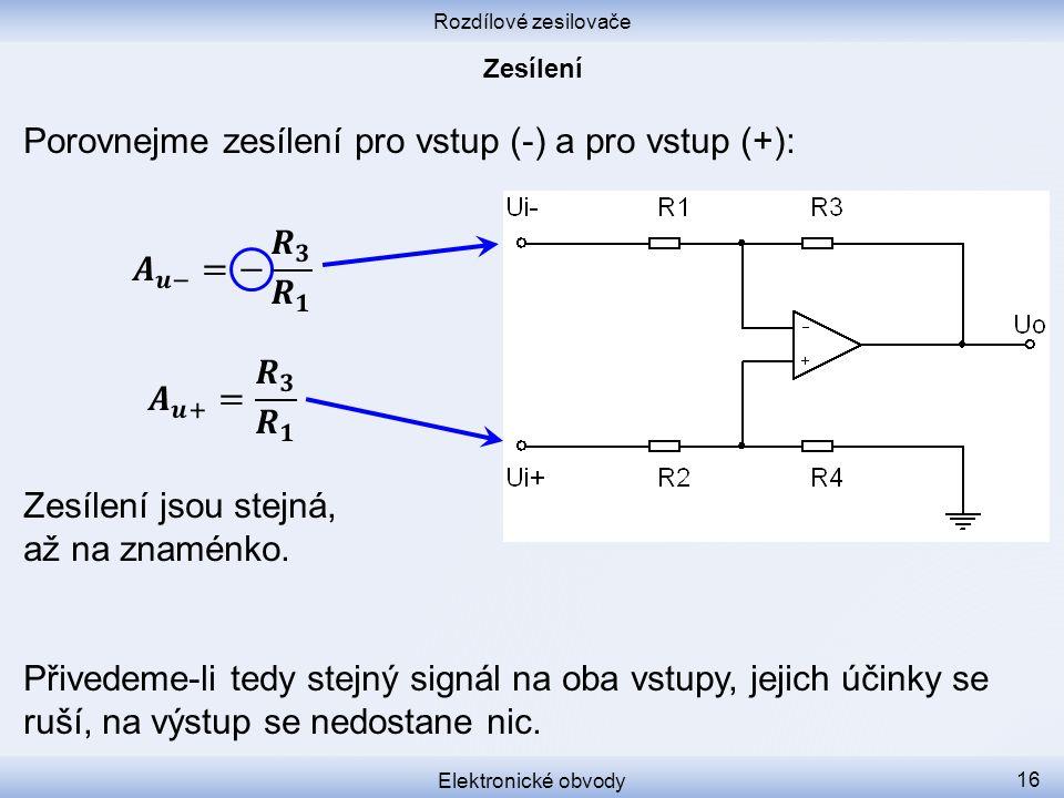 Rozdílové zesilovače Elektronické obvody 16 Porovnejme zesílení pro vstup (-) a pro vstup (+): Přivedeme-li tedy stejný signál na oba vstupy, jejich ú