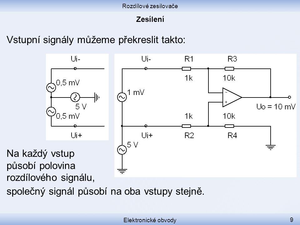 Rozdílové zesilovače Elektronické obvody 9 Vstupní signály můžeme překreslit takto: společný signál působí na oba vstupy stejně. Na každý vstup působí