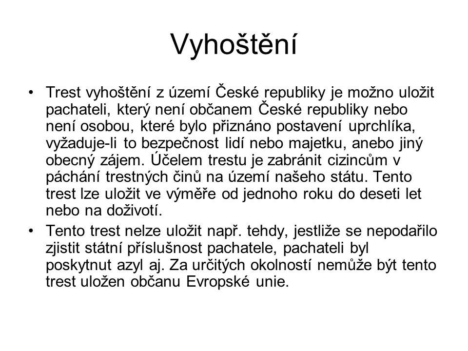 Vyhoštění Trest vyhoštění z území České republiky je možno uložit pachateli, který není občanem České republiky nebo není osobou, které bylo přiznáno