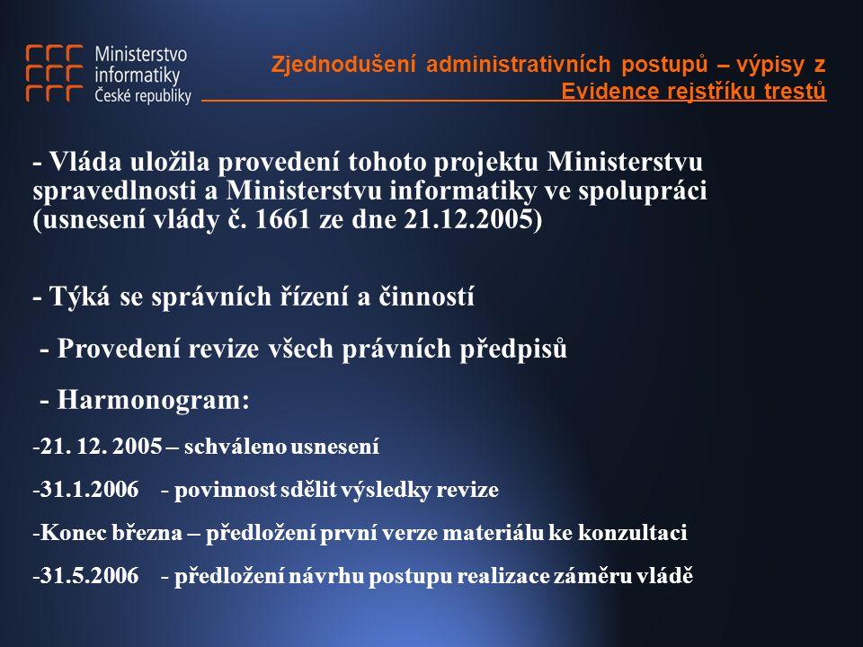 Zjednodušení administrativních postupů – výpisy z Evidence rejstříku trestů  Struktura revize: -Zpracovatel -Výčet správních činností a řízení -Právní předpis, z něhož povinnost vychází -Kdo řízení či činnost provádí -Rozsah posuzování bezúhonnosti -Způsob posuzování (míra diskreční pravomoci) -Četnost -Návrh na zjednodušení