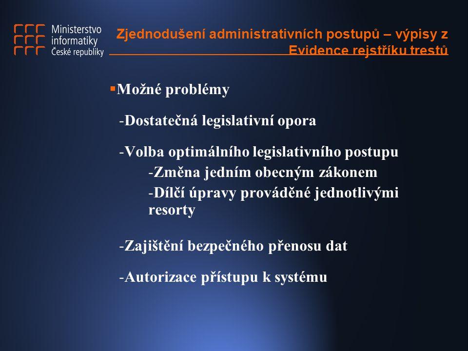Zjednodušení administrativních postupů – výpisy z Evidence rejstříku trestů  Možné problémy -Dostatečná legislativní opora -Volba optimálního legislativního postupu -Změna jedním obecným zákonem -Dílčí úpravy prováděné jednotlivými resorty -Zajištění bezpečného přenosu dat -Autorizace přístupu k systému