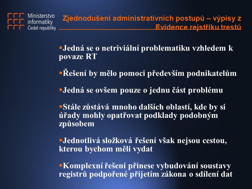 Zjednodušení administrativních postupů – výpisy z Evidence rejstříku trestů  Registry -Základní data o objektech -Ekonomické jednotky -Nemovitosti -Obyvatelé -Možnost jejich širokého využití -Záruka kvality a jednotnosti dat  Zákon o sdílení dat - Základní zásady komunikace OVM při výměně dat
