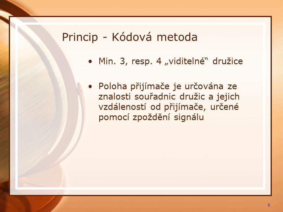 """5 Princip - Kódová metoda Min. 3, resp. 4 """"viditelné"""" družice Poloha přijímače je určována ze znalosti souřadnic družic a jejich vzdáleností od přijím"""
