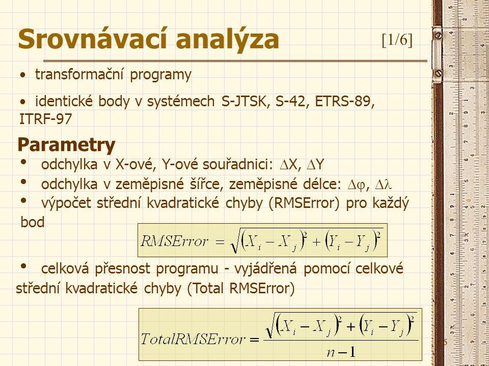 16 Parametry Srovnávací analýza [1/6]  odchylka v X-ové, Y-ové souřadnici:  X,  Y  odchylka v zeměpisné šířce, zeměpisné délce: ,   výpočet st