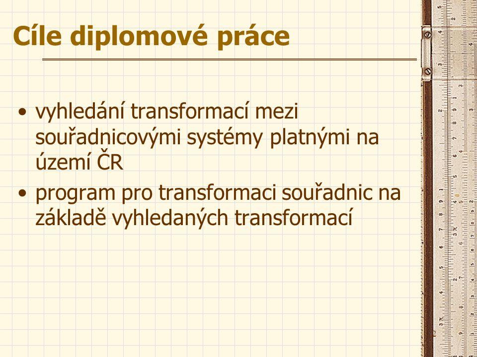 2 Cíle diplomové práce vyhledání transformací mezi souřadnicovými systémy platnými na území ČR program pro transformaci souřadnic na základě vyhledaný