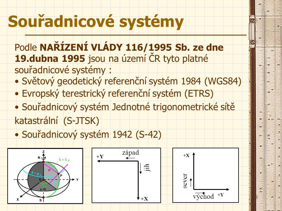3 Souřadnicové systémy Podle NAŘÍZENÍ VLÁDY 116/1995 Sb. ze dne 19.dubna 1995 jsou na území ČR tyto platné souřadnicové systémy : Světový geodetický r