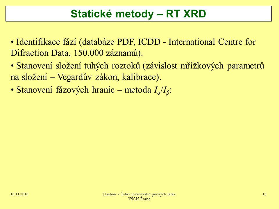 10.11.2010J.Leitner - Ústav inženýrství pevných látek, VŠCH Praha 13 Statické metody – RT XRD Identifikace fází (databáze PDF, ICDD - International Ce