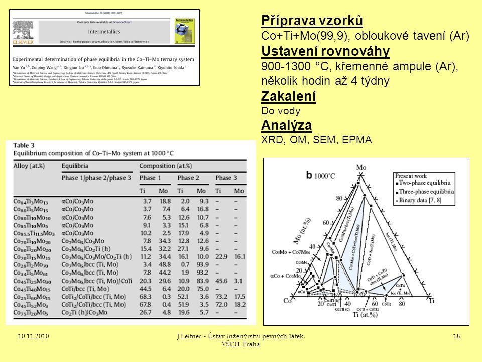 10.11.2010J.Leitner - Ústav inženýrství pevných látek, VŠCH Praha 18 Příprava vzorků Co+Ti+Mo(99,9), obloukové tavení (Ar) Ustavení rovnováhy 900-1300