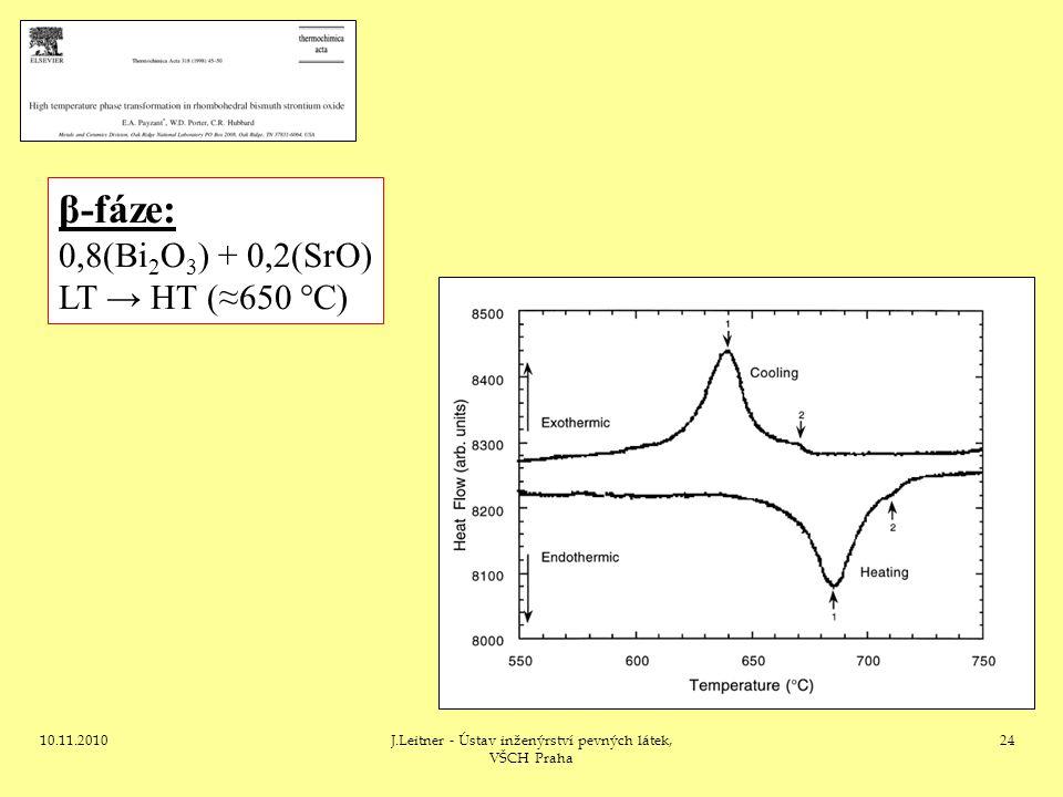 10.11.2010J.Leitner - Ústav inženýrství pevných látek, VŠCH Praha 24 β-fáze: 0,8(Bi 2 O 3 ) + 0,2(SrO) LT → HT (≈650 °C)