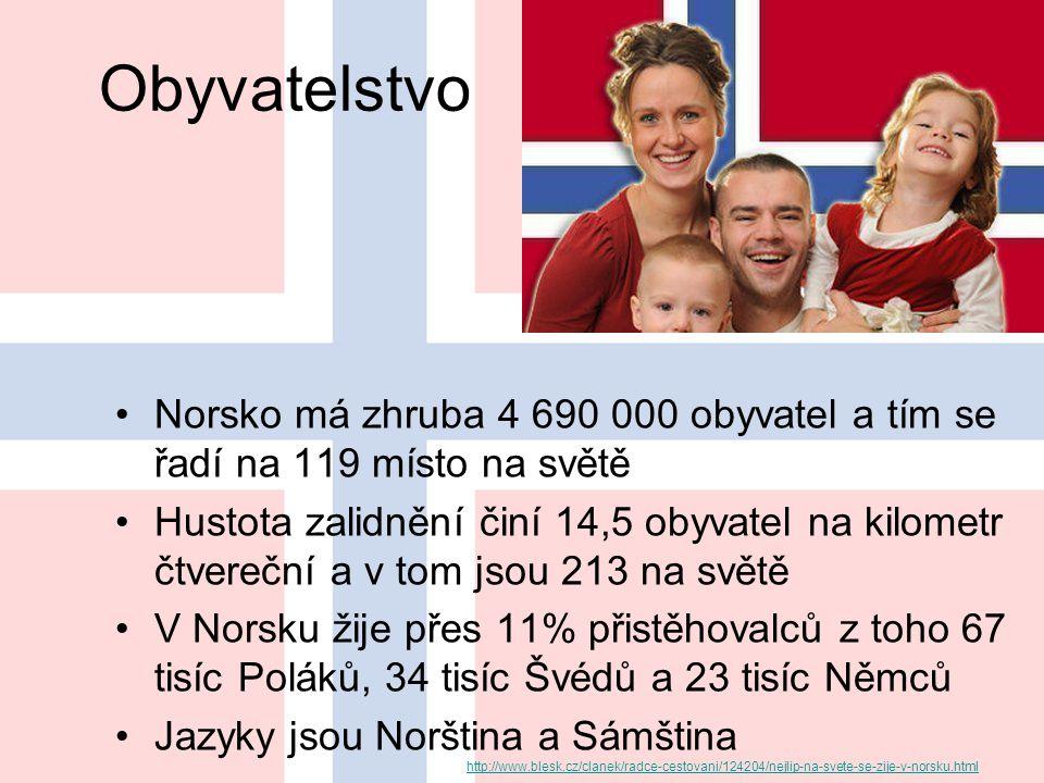 Obyvatelstvo Norsko má zhruba 4 690 000 obyvatel a tím se řadí na 119 místo na světě Hustota zalidnění činí 14,5 obyvatel na kilometr čtvereční a v tom jsou 213 na světě V Norsku žije přes 11% přistěhovalců z toho 67 tisíc Poláků, 34 tisíc Švédů a 23 tisíc Němců Jazyky jsou Norština a Sámština http://www.blesk.cz/clanek/radce-cestovani/124204/nejlip-na-svete-se-zije-v-norsku.html