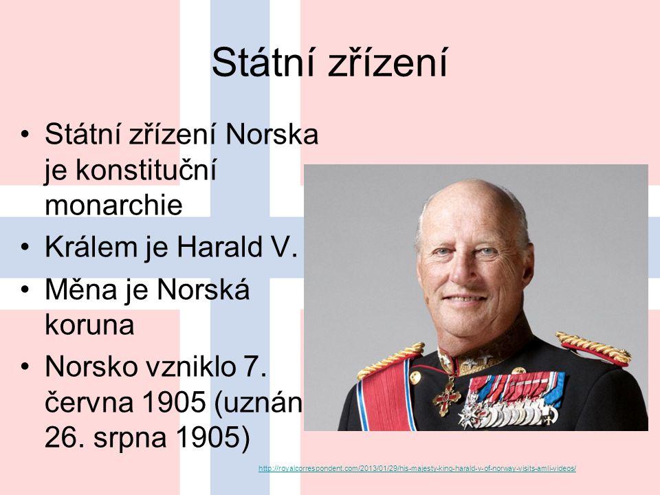 Státní zřízení Státní zřízení Norska je konstituční monarchie Králem je Harald V.