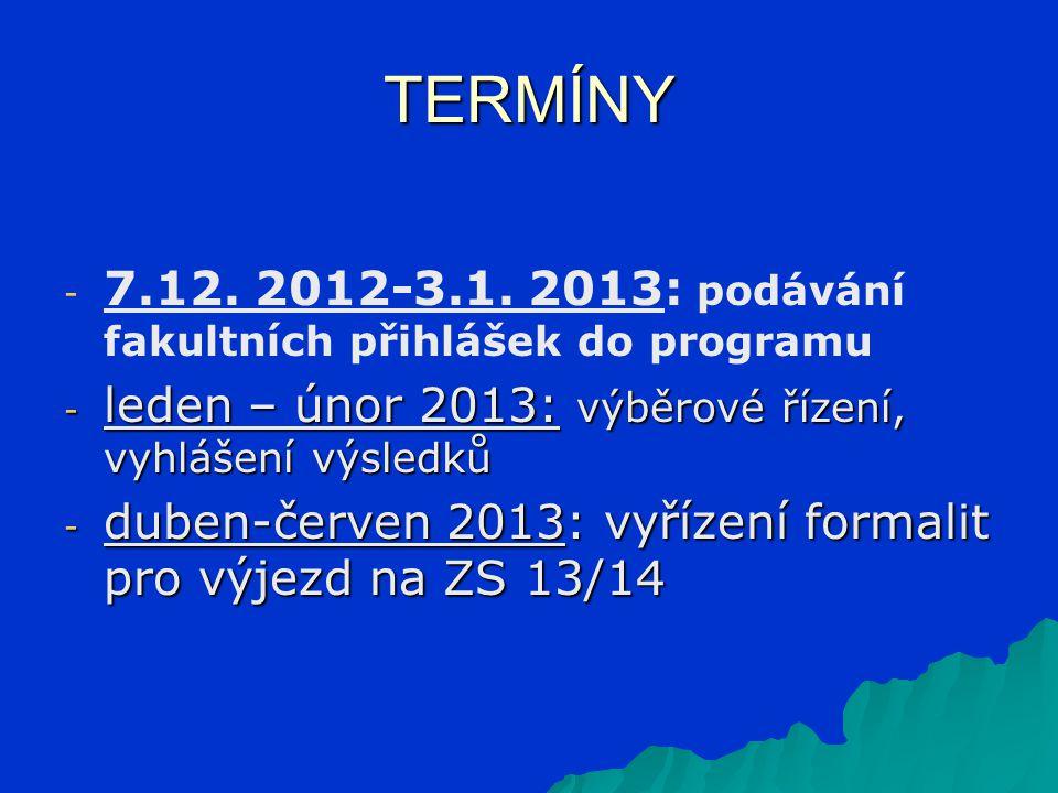 TERMÍNY - - 7.12. 2012-3.1.