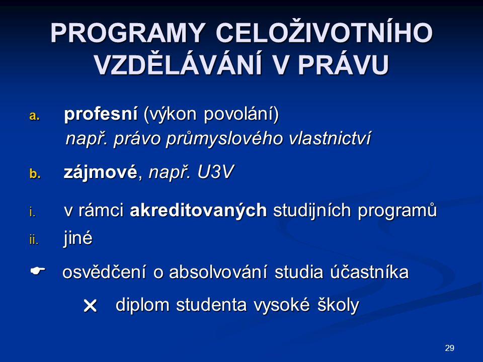 29 PROGRAMY CELOŽIVOTNÍHO VZDĚLÁVÁNÍ V PRÁVU a. profesní (výkon povolání) např.