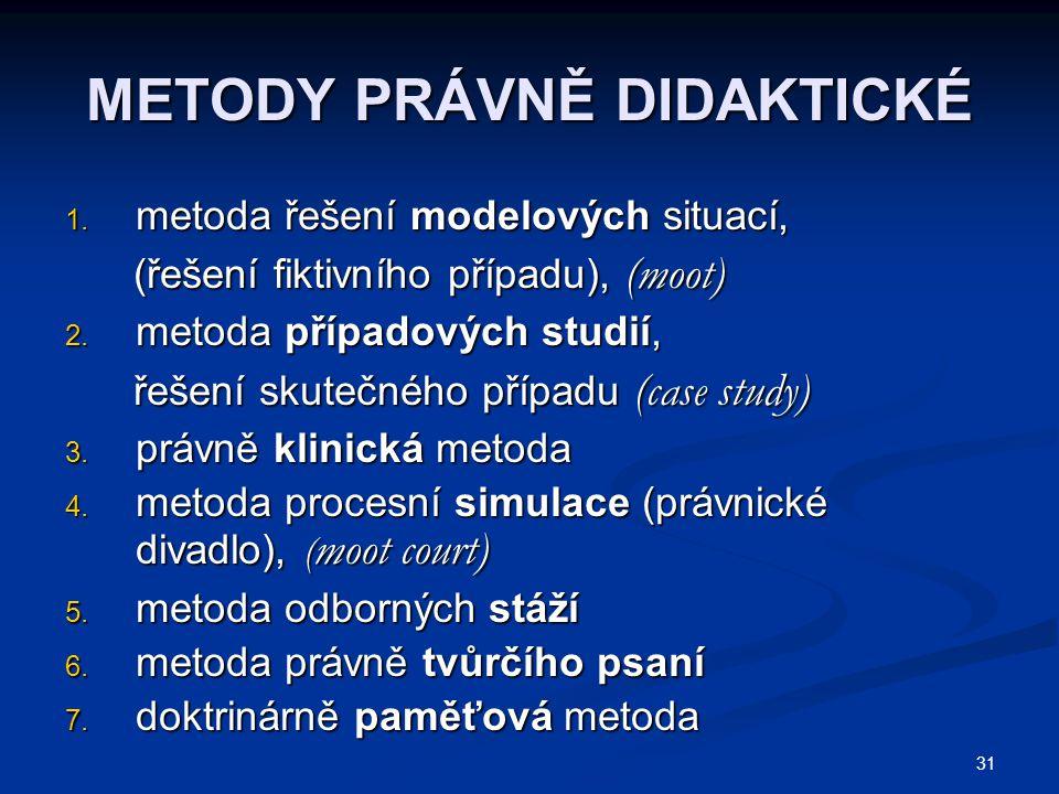 31 METODY PRÁVNĚ DIDAKTICKÉ 1.