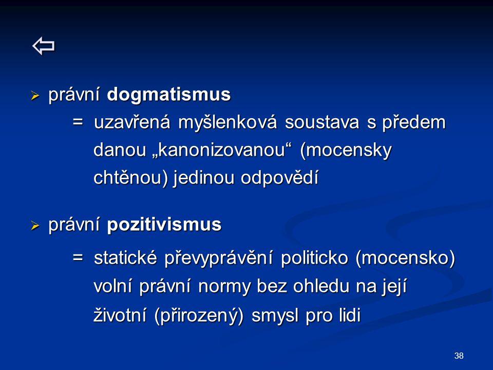 """38   právní dogmatismus = uzavřená myšlenková soustava s předem = uzavřená myšlenková soustava s předem danou """"kanonizovanou (mocensky danou """"kanonizovanou (mocensky chtěnou) jedinou odpovědí chtěnou) jedinou odpovědí  právní pozitivismus = statické převyprávění politicko (mocensko) = statické převyprávění politicko (mocensko) volní právní normy bez ohledu na její volní právní normy bez ohledu na její životní (přirozený) smysl pro lidi životní (přirozený) smysl pro lidi"""