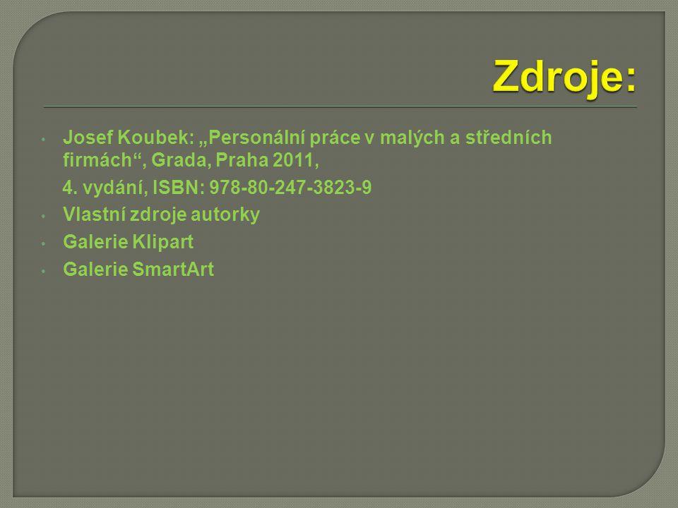 """Josef Koubek: """"Personální práce v malých a středních firmách , Grada, Praha 2011, 4."""