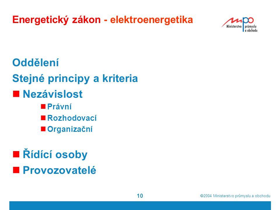  2004  Ministerstvo průmyslu a obchodu 10 Energetický zákon - elektroenergetika Oddělení Stejné principy a kriteria Nezávislost Právní Rozhodovací