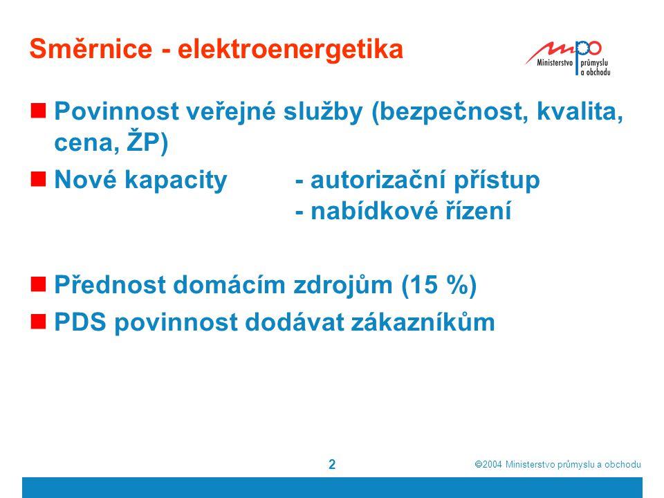  2004  Ministerstvo průmyslu a obchodu 13 Energetický zákon - elektroenergetika Právní kontinuita Dodavatel poslední instance Otvírání trhu – smlouvy Oddělení provozovatelů sítí – přechod práv a povinností (smlouvy) Kombinovaná výroba, druhotné zdroje Připojení a rezervace příkonu Přeložky Přípojky Stavy nouze Autorizační princip, nabídkové řízení