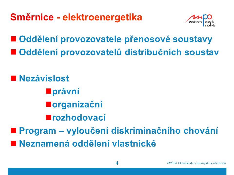  2004  Ministerstvo průmyslu a obchodu 5 Směrnice - elektroenergetika Povinnost oddělení nemusí být uplatněna podniků s méně než 100 000 zákazníky.
