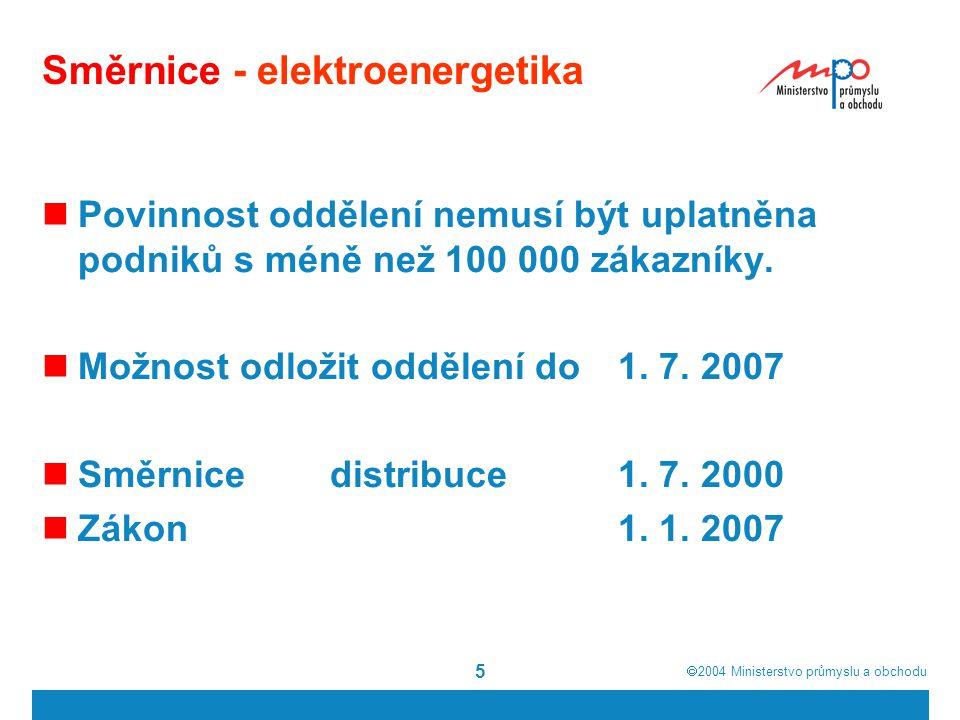  2004  Ministerstvo průmyslu a obchodu 6 Směrnice - energetický zákon Otvírání trhu s elektřinou Směrnice 2003/54 1.