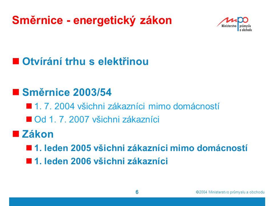  2004  Ministerstvo průmyslu a obchodu 6 Směrnice - energetický zákon Otvírání trhu s elektřinou Směrnice 2003/54 1. 7. 2004 všichni zákazníci mimo
