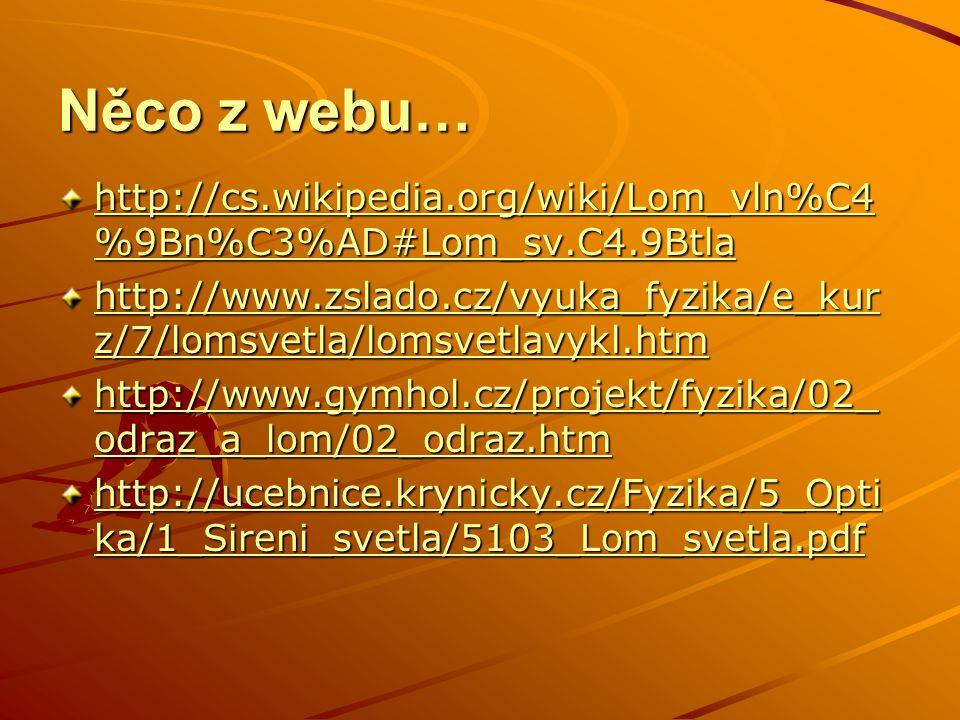 Něco z webu… http://cs.wikipedia.org/wiki/Lom_vln%C4 %9Bn%C3%AD#Lom_sv.C4.9Btla http://cs.wikipedia.org/wiki/Lom_vln%C4 %9Bn%C3%AD#Lom_sv.C4.9Btla htt