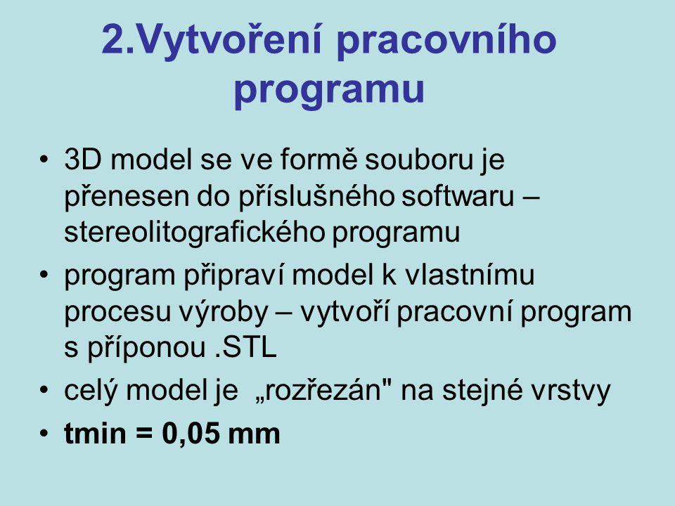 2.Vytvoření pracovního programu 3D model se ve formě souboru je přenesen do příslušného softwaru – stereolitografického programu program připraví mode
