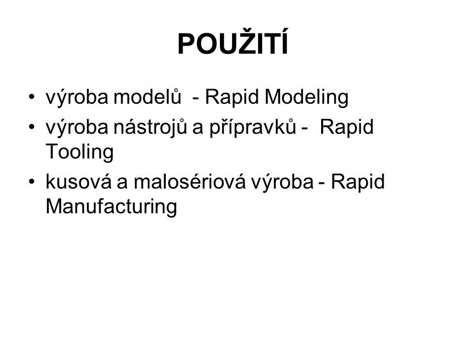 POUŽITÍ výroba modelů - Rapid Modeling výroba nástrojů a přípravků - Rapid Tooling kusová a malosériová výroba - Rapid Manufacturing