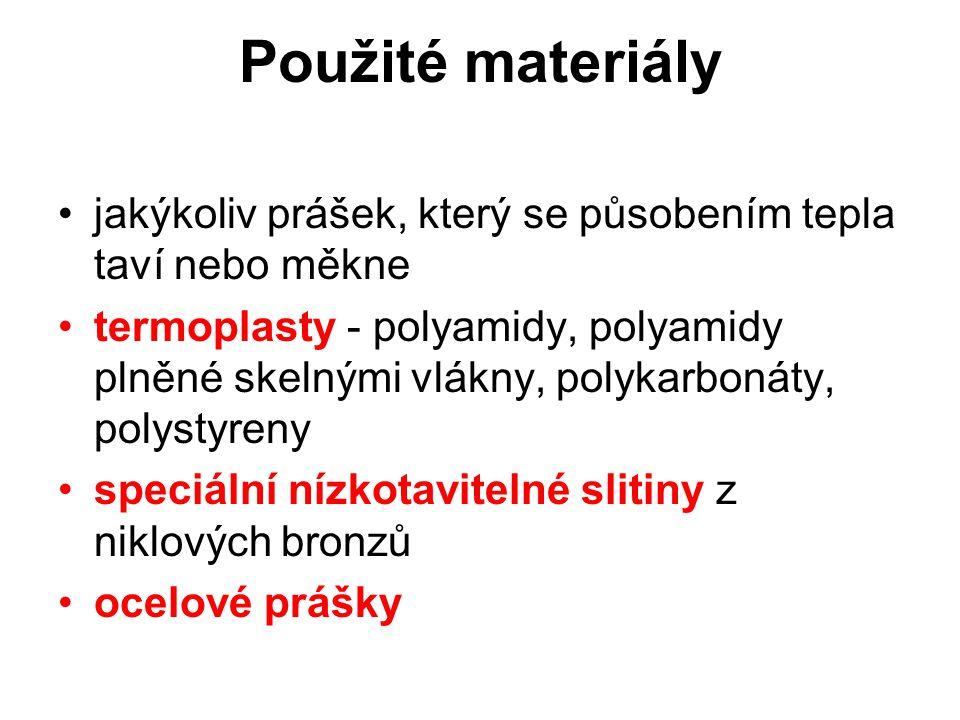 Použité materiály jakýkoliv prášek, který se působením tepla taví nebo měkne termoplasty - polyamidy, polyamidy plněné skelnými vlákny, polykarbonáty,
