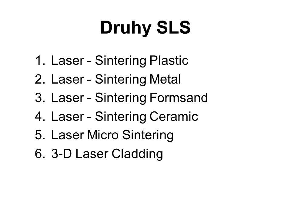 Druhy SLS 1.Laser - Sintering Plastic 2.Laser - Sintering Metal 3.Laser - Sintering Formsand 4.Laser - Sintering Ceramic 5.Laser Micro Sintering 6.3-D