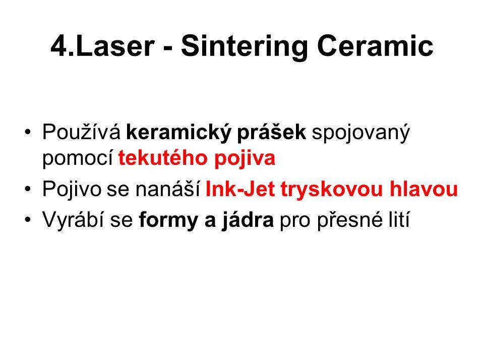 4.Laser - Sintering Ceramic Používá keramický prášek spojovaný pomocí tekutého pojiva Pojivo se nanáší Ink-Jet tryskovou hlavou Vyrábí se formy a jádr