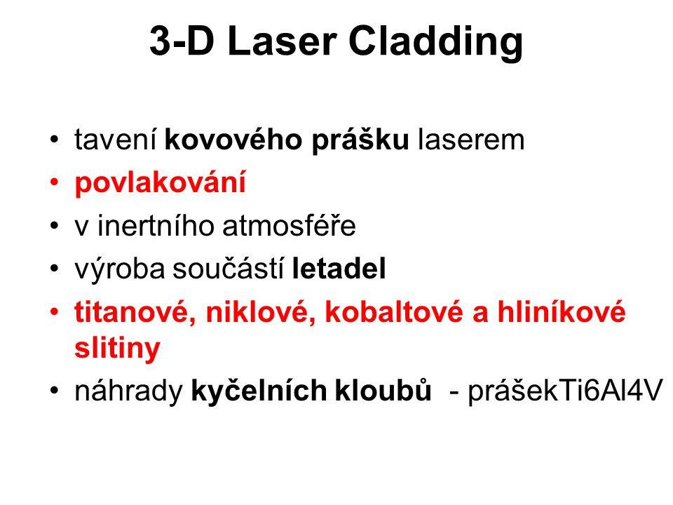 3-D Laser Cladding tavení kovového prášku laserem povlakování v inertního atmosféře výroba součástí letadel titanové, niklové, kobaltové a hliníkové s
